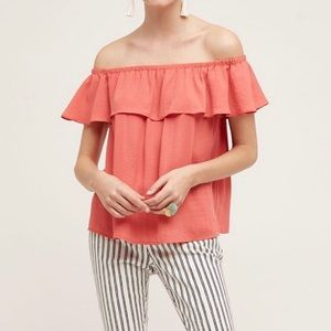Maeve Anthropologie • Pink Islander Ruffle Top